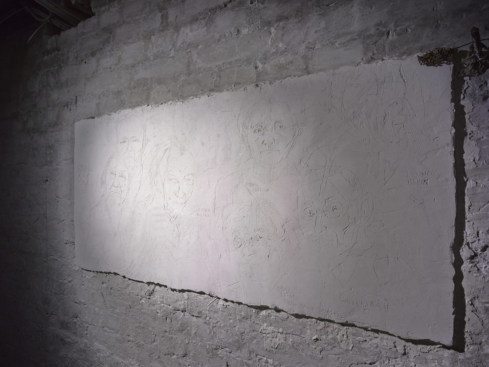"Plaster Wall Relief, Photo Harry Weber. The artist Julia Sand made this plaster wall relief in the year 1995 on the occasion of the exhibition ""SA Prison Papestrasse 1933"" that was initiated by the History Workshop Papestrasse."