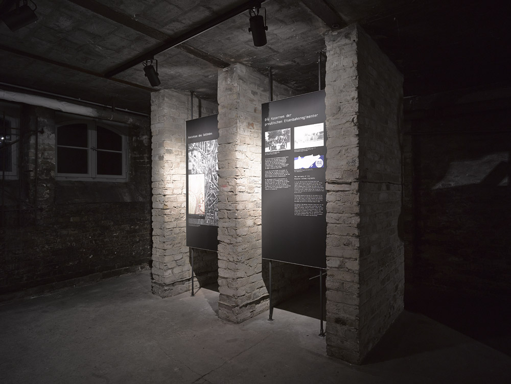 Exhibition panel in the former boiler room. Photo: Harry Weber