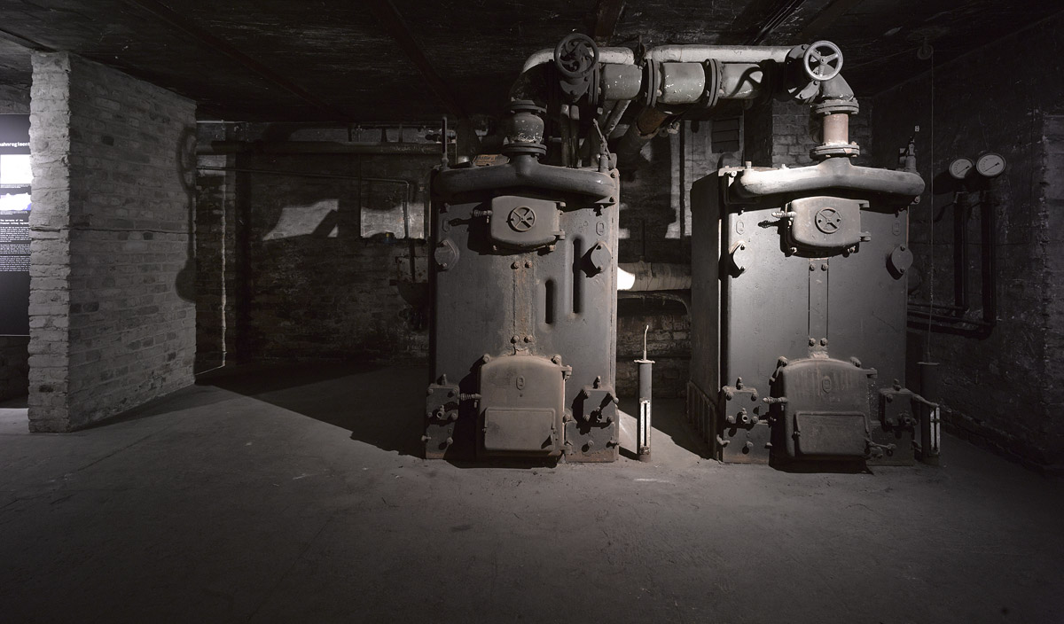 Boiler of the original central hot-water heating system. Photo: Harry Weber